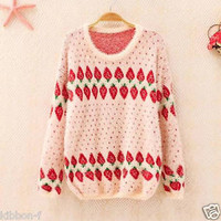 FLUFFY STRAWBERRY sweater ichigo pullover pink kawaii cute winter warm