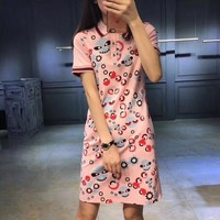 """Fendi"" Women Casual Show Thin Fashion Glasses Little Monster Print Multicolor Lapel T-shirt Short Sleeve Polo Shirt Dress"