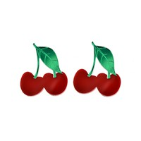 XL Solid Red Cherry Earrings