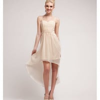 Champagne Chiffon High-Low Spaghetti Strap Dress 2015 Prom Dresses