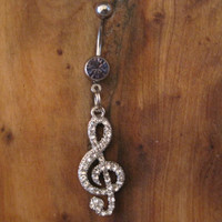 Belly Button Ring - Body Jewelry - Silver Rhinestone Music Note with Lt. Purple Gem Stone Belly Button Ring