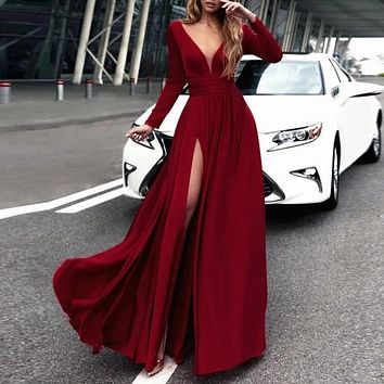 Classic Long Sleeves Prom Dresses V Neck High Slit Elegant Evening Dress