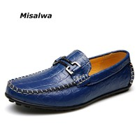 Misalwa Brown Blue Crocodile Leather Shoes Mens Shoes Casual Loafers Size 11 12 Free Shipping