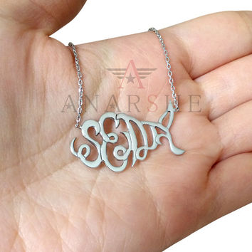 ON SALE, Monogram Necklace, Designed and Sketched Monogram Necklace, Sterling Silver Fish Monogram Necklace, Any Shape Monogram Necklace