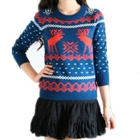 V28®Women Girl Christmas Cute Santa Embroidered Knitted Deer Pullover Sweater Jumper