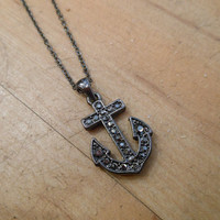 Smoky Rhinestone Anchor Necklace   Candy's Cottage