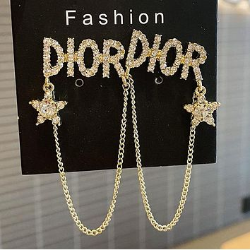 DIOR 925 Popular Women Personality Golden Letter Pendant Long Style Earrings Accessories #3