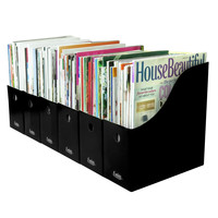 Evelots Set of 6 Magazine/File Holders Bin Home Office Desk Organizer, Black