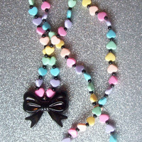 Fairy Witch III - Pastel Rainbow Hearts and Black Bow Stretch Necklace