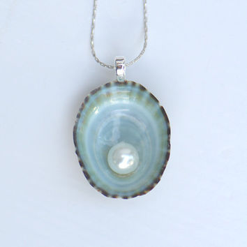 Turquoise Limpet Seashell Glass White Pearl Pendant Necklace - Silver Platinum 18 inch Chain Beach Wedding Mermaid Pendant Bridesmaid Gift