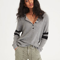 AE Varsity Stripe Henley Pullover Sweater, Heather Gray