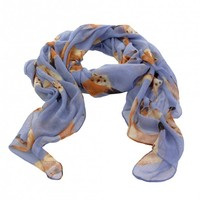 Blue fox design scarf | Natural History Museum Online Shop