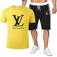 Louis Vuitton LV Classic hot sale printed letter logo hooded T-shirt Shorts two-piece suit Bag Shoes Yellow