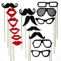 15 PCS Mustache Glasses Moustache Lips Photo Prop Stick Photo Booth Party Favor Wedding Birthday Baby Shower