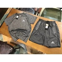 Adidas Trending Men Casual Reflective Quick Dry Sports Two Piece Suit Grey I-AA-XDD