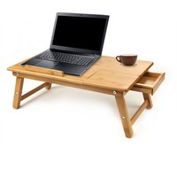 Mind Reader Laptop Lap Desk Flip Top with Drawer, Fold-able Legs, Breakfast Tray, Bamboo Brown - Walmart.com