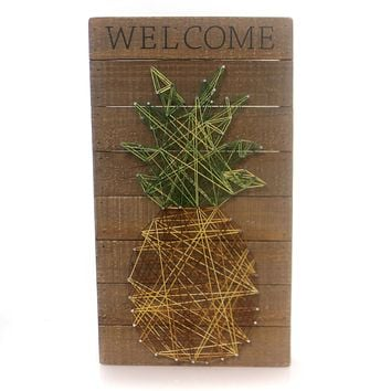 Home Decor WELCOME STRING ART Wood Pineapple Sign Plaque 30456