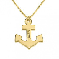 Gold Anchor Name Necklace Personalized Jewelry Anchor Nameplate Necklace Custom Personalized Name Necklace Name Jewelry Gold Necklace