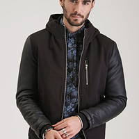 Faux Leather-Sleeved Hooded Jacket