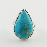 Blue Turquoise Pear Sterling Silver Ring