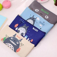 Cute Kawaii Fabric Pencil Case Lovely Cartoon Totoro Pen Bags For Kids Gift School Supplies 1202