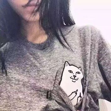 [ On Sale ] White/Back/Grey Hidden Middle Finger in Pocket Cat Appliques Round Necked Shirt Cotton T-shirt Top  _ 3912