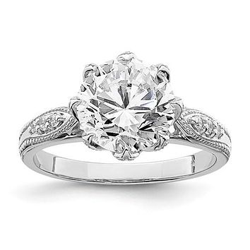 Sterling Silver 9mm Round CZ Floral Set Ring
