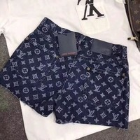 """Louis Vutitton"" Women Casual Fashion Letter Logo Diamond Pattern Print Denim Shorts"