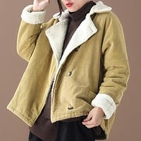 New loose large - size padded corduroy lamb coat jacket