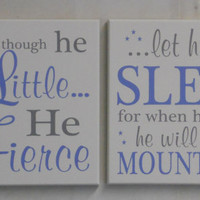 Baby Blue and Gray Signs Set of Two Select Size, Baby Boy Nursery Decorations, Wall Art