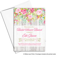 Whimsical Bridal Shower invite | Spring Summer Bridal Shower invitation | floral wedding shower invitation rustic wood  - WLP00607
