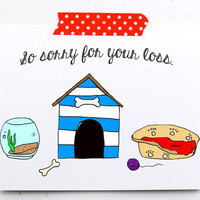 Pet loss card. So sorry for your loss. Pet sympathy card. loss of pet card. pet death. cat dog fish. red blue. little sloth card