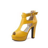 Women's Hollow Buckle Fish Mouth High Heels Chunky Sandals