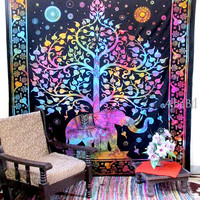 LARGE ELEPHANT TAPESTRY, Hippie Bedding Throw, Queen Cotton Elephant Tree Tapestry Wall Hanging, Indian Tapestry Bedspread, Boho Tapestry