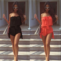 Womens Celeb Sexy Mini Playsuit Ladies Jumpsuit Summer Shorts Beach Sun Dress = 5709602241