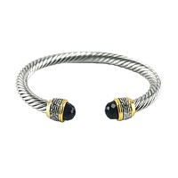 Ebba Black Crystal Textured Cable Open Bracelet