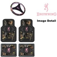 Browning Arms Company Pink Buckmark Brand Camo Logo Car Truck SUV Front & Rear Seat Heavy Duty Trim-to-Fit Rubber Floor Mats and Steering Wheel Cover Set - 5PC