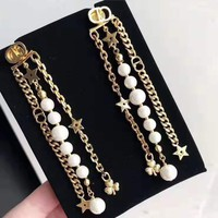 DIOR CD Srtlish Women Pearl Tassel Star Earrings Accessories Jewelry