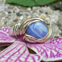 Size 8.25 Agate Ring Handmade in the USA Wire Wrapped Jewelry