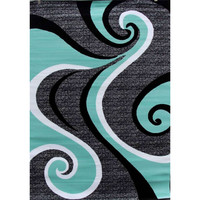 5'2 x 7'2 Modern Abstract Area Rug with Black Turquoise Swirl