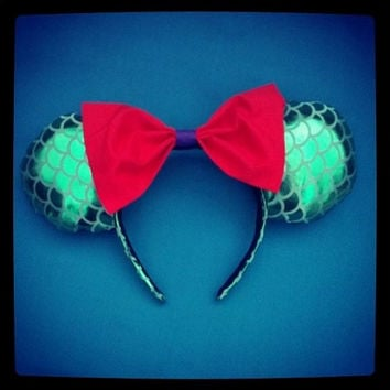 The Little Mermaid Ariel Minnie Mouse Ears Headband with Bow By Le Petite Zombie
