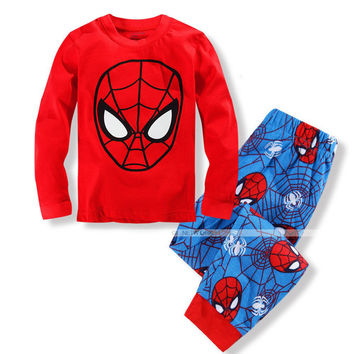 Spiderman Baby Toddler Boy Pajamas T-shirt Pants Outfits Set Sleepwear 2-8 Years