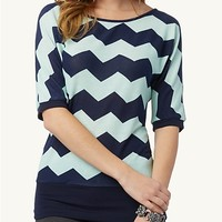Chevron Lace Back Dolman Top