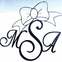 Car Window Decal Vinyl Decal - Personalized Monogram Decal  - Car Decals - Bows - Cheer Bows - Over 20 Colors Available