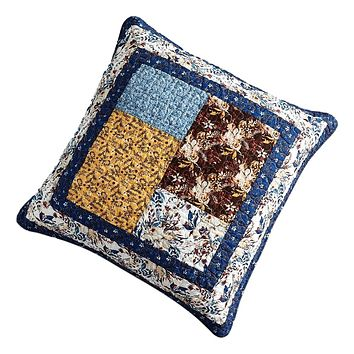 Tache Cotton Patchwork White Blue Yellow Brown Floral Prairie Sunset Euro Sham (JHW-887)