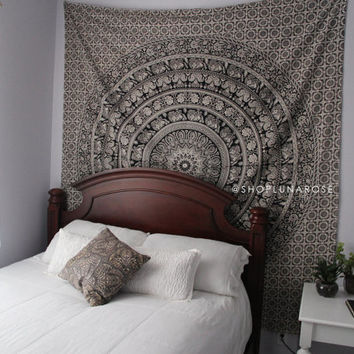 Wall Hanging Tapestry | Bohemian Mandala Queen Hippie Tapestry Indian Fabric Large Bedding Sheet Decor Beach Throw