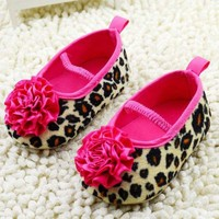 0-18M Infant Baby Girls Soft Crib Shoes Flower Leopard Toddler Shoes Prewalker