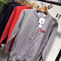 play cdg Fashion Knit Button Round Neck Long Sleeve Embroider Sweater Coat G-ZDL-STPFYF-1