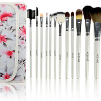 Fashion Women's Professional 12pcs Soft Cosmetic Tool Makeup Brush Set Kit With Floral Printed Pouch