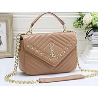 YSL Fashion Hot Selling Ladies Pure Color Shopping Bags Khaki